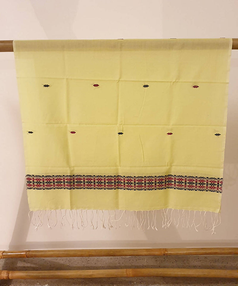 light lemon green assam handloom cotton stole