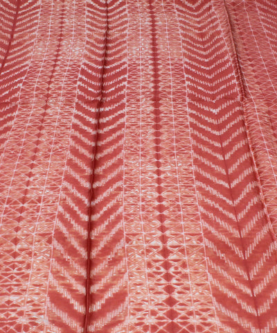 Orange Shibori Print Chanderi Kurta Fabric