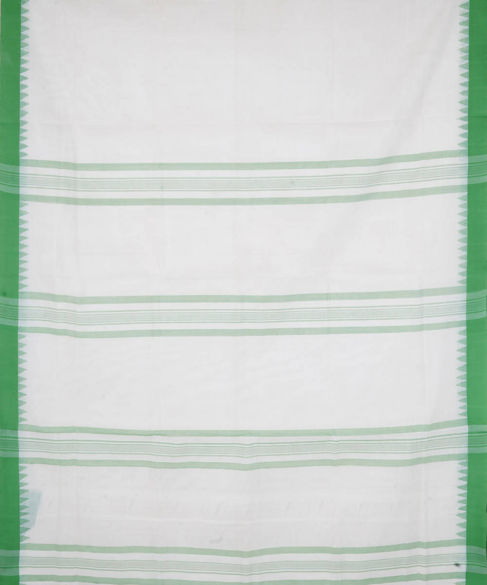 White Green Handloom Kuppadam Cotton Saree