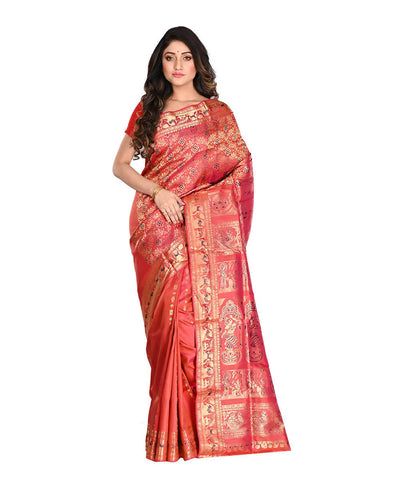 Bengal Handloom Red Silk Baluchari Saree