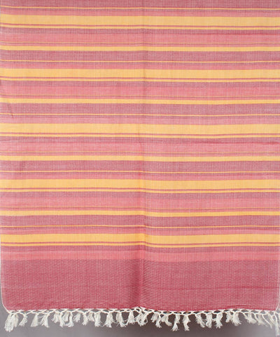 Light Mauve yellow Striped Handwoven Cotton Stole