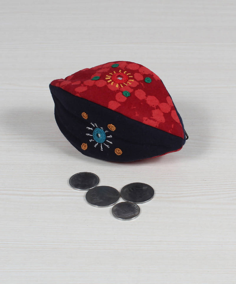 Black Red Lambani Embroidery Coin Pouch