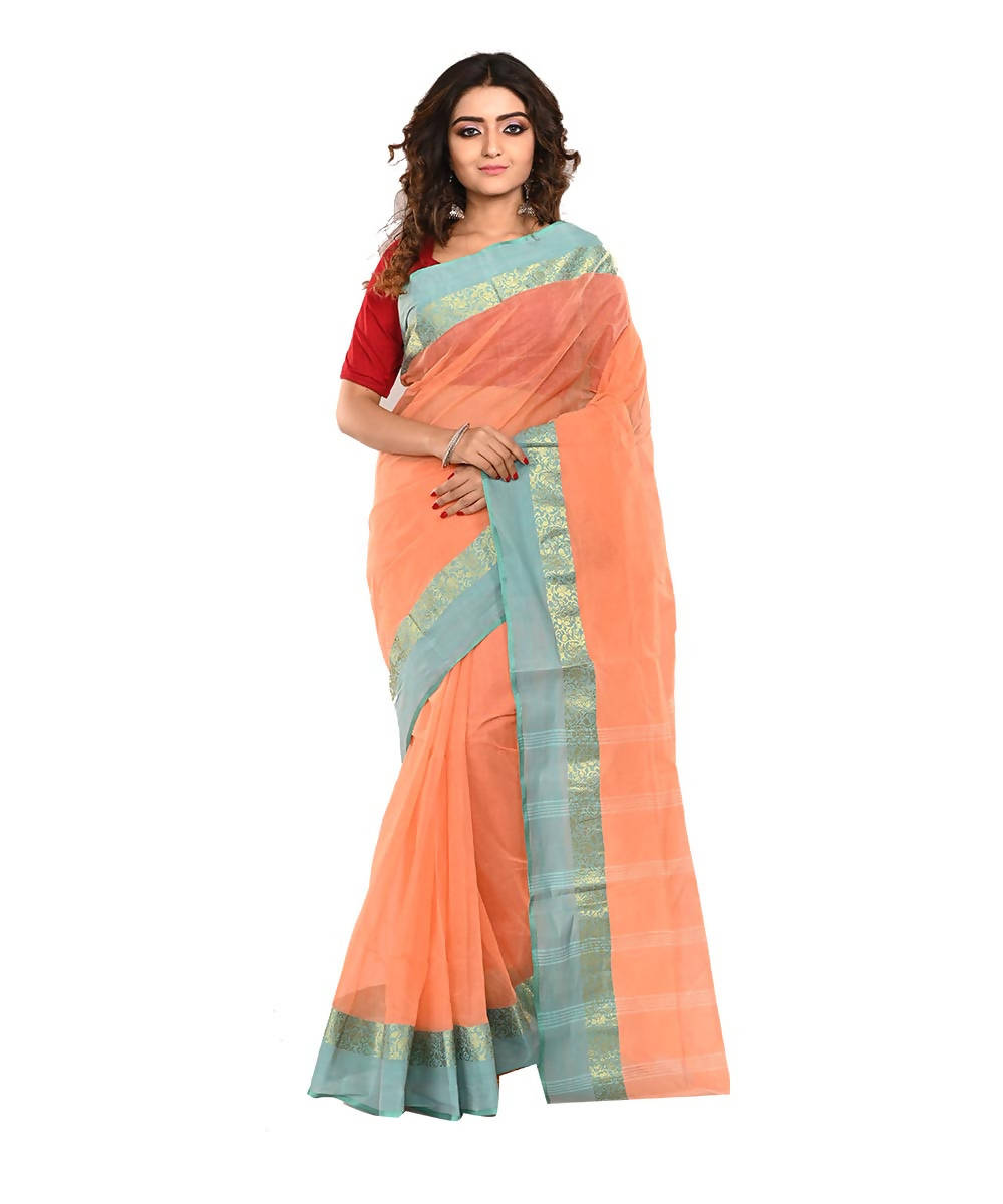 Peach Bengal Handloom Cotton Saree