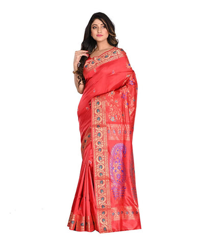Baluchari Silk Red Bengal Handloom Saree