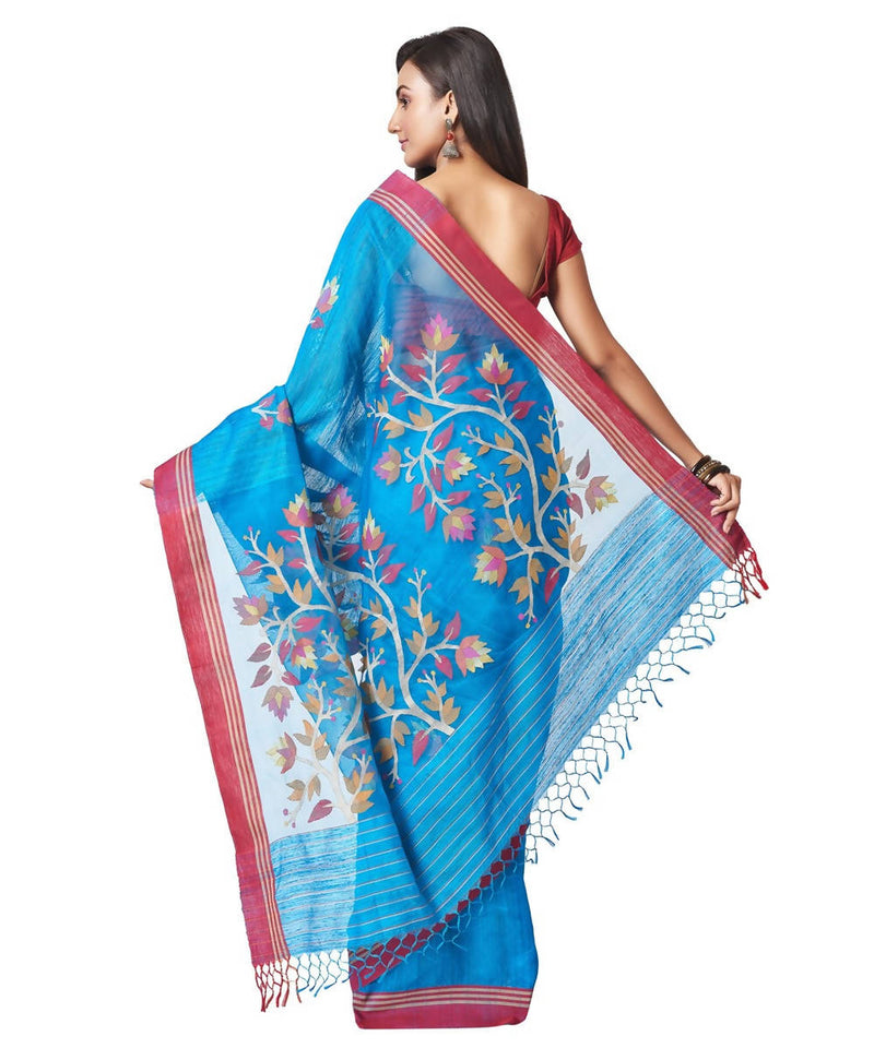 Biswa bangla handloom matka silk blue jamdani saree