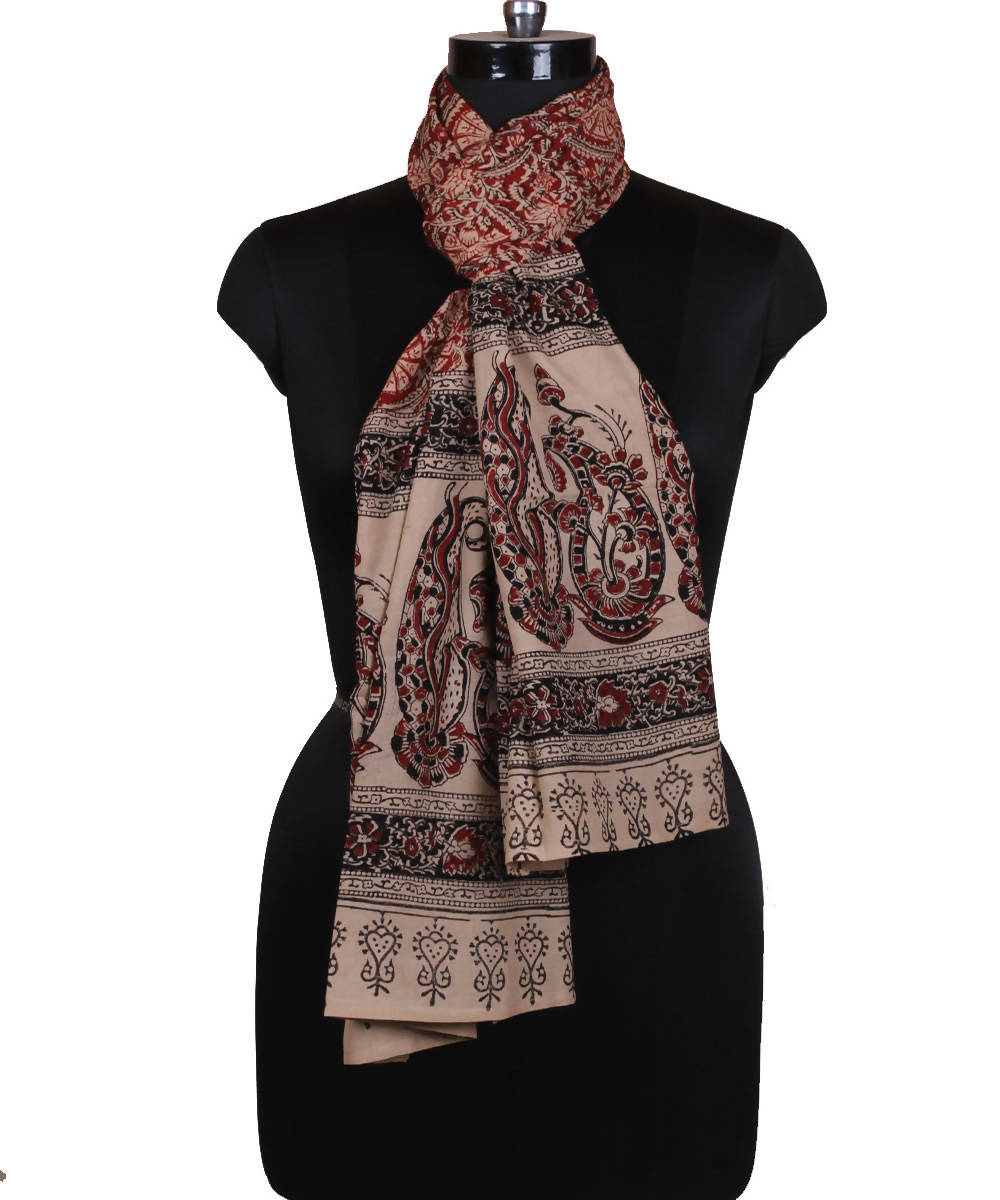 Kalamkari Hand Printed Stole in Floral Design