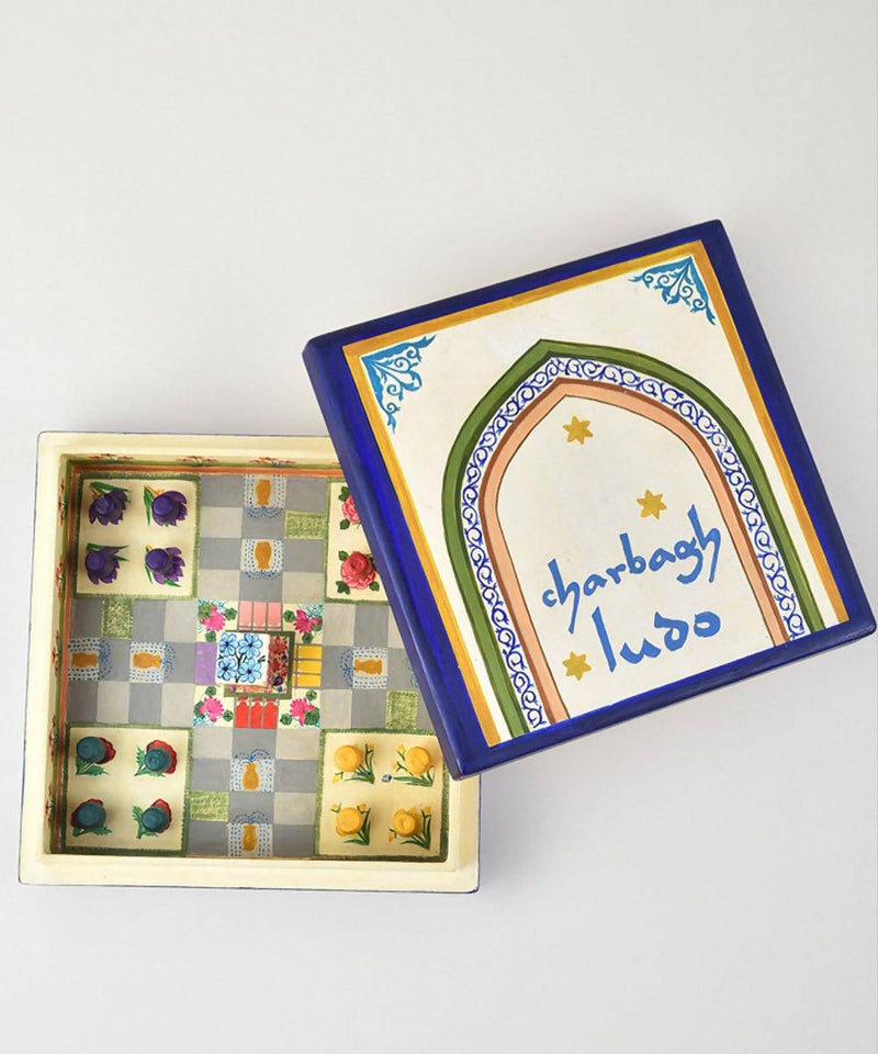 White hand painted paper mache ludo box game