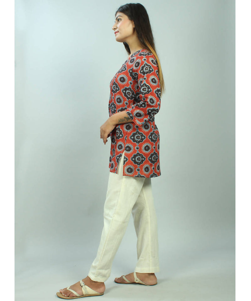 Red hand block ajrakh print Cotton tunic