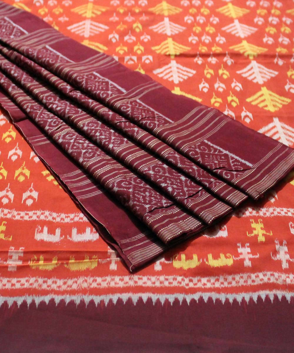Rust Maroon Sambalpuri Cotton Ikkat Saree