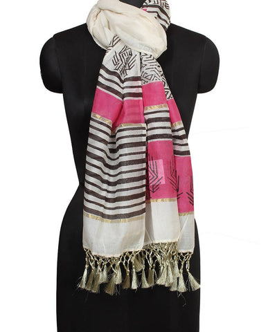 White and Pink Handblock Printed Cotton Stole