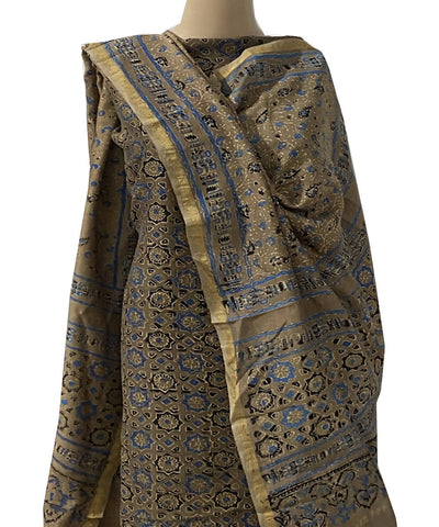 Brown blue ajrakh block print chanderi cotton top dupatta suit set