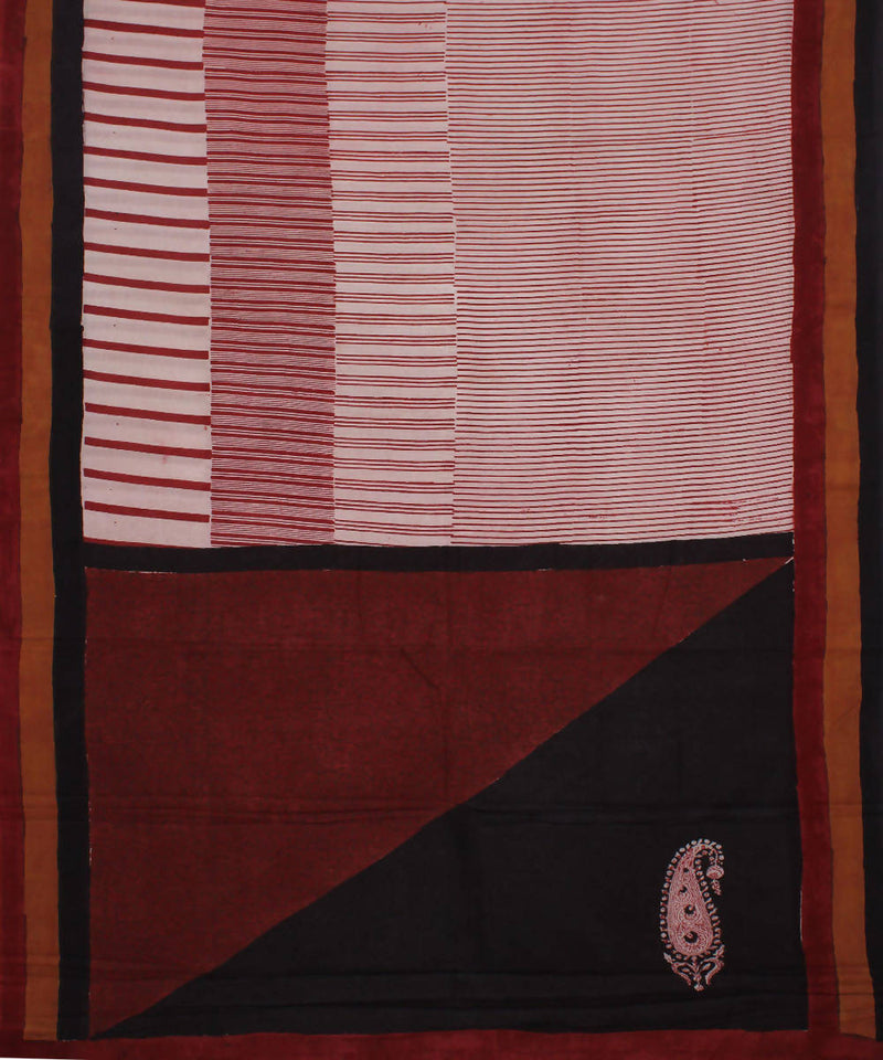 White Maroon Handblock Print Cotton Saree