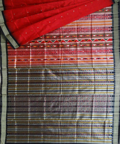 Red Dangaria Handloom Bomkai Silk Saree