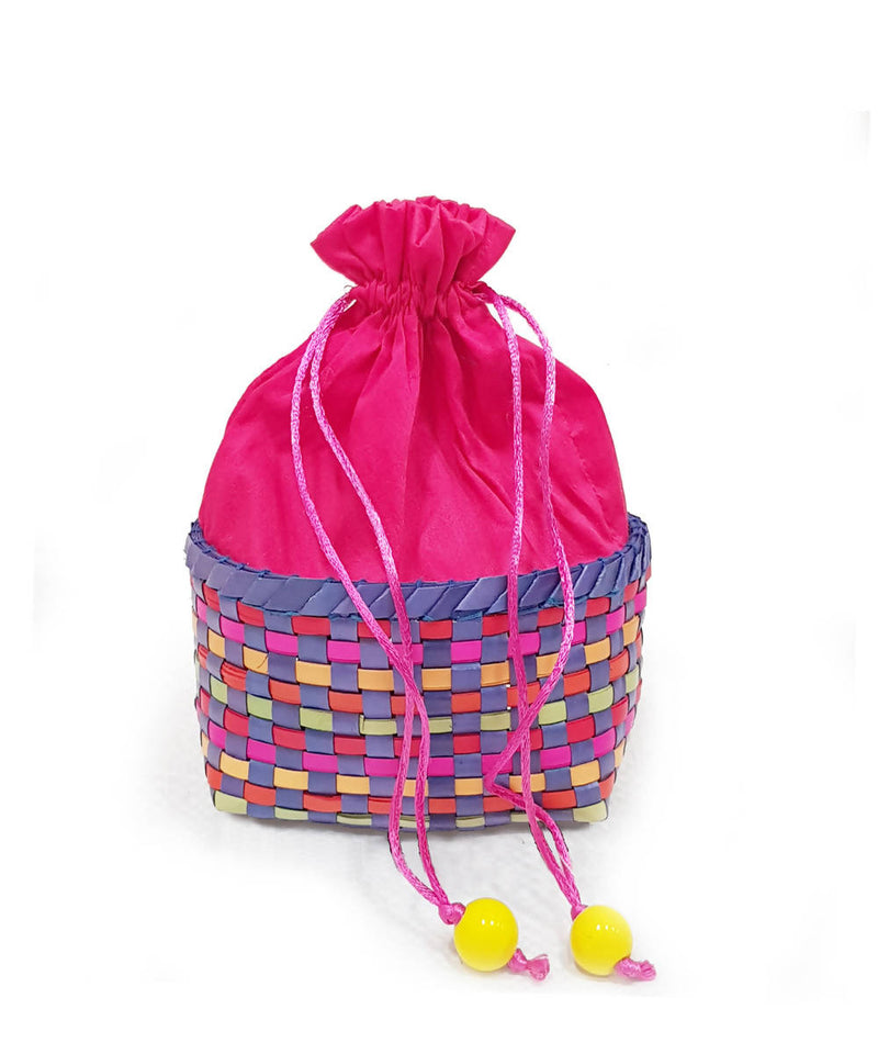 Pink handmade palm leaf basket with pouch