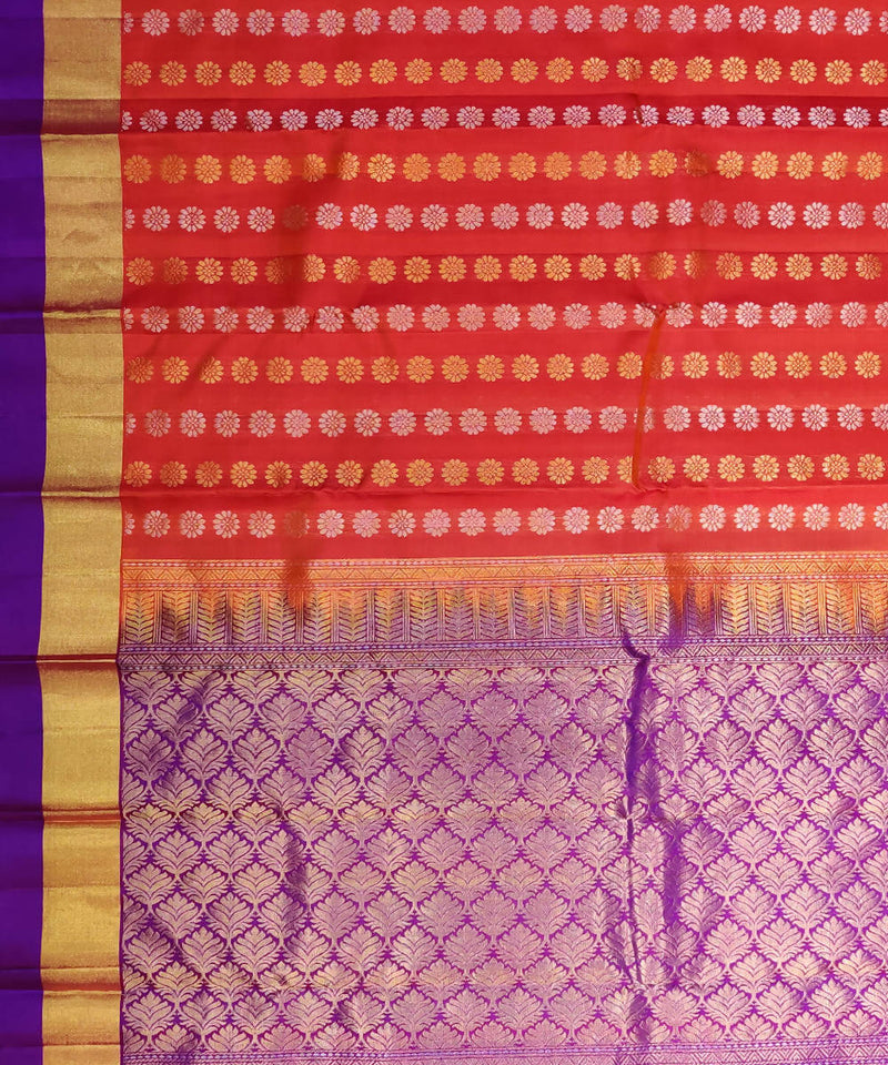 Orange Purple Handloom Butta Work Kanjivaram Silk Saree