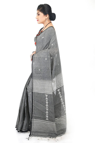 Handloom bengal black grey cotton jamdani saree