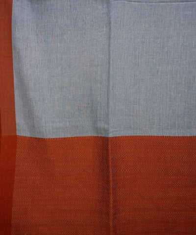 Blue grey and rust brown handspun handwoven cotton bengal saree