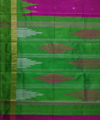 Handwoven Magenta Purple Green Dupion Silk Saree