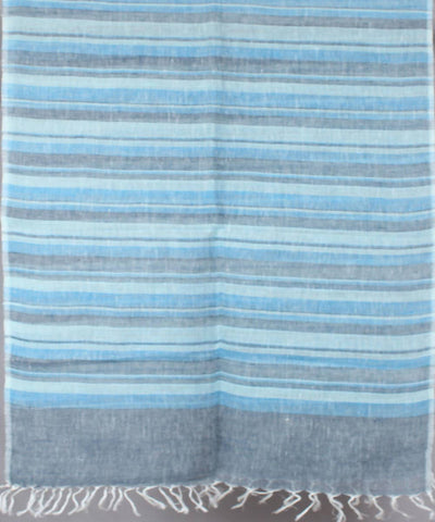 Sky blue with grey stripe Handwoven Linen Stole