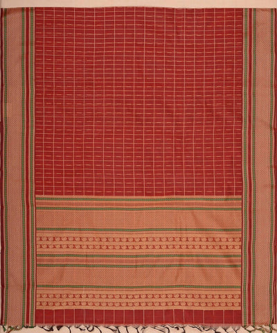 Muttu kattam Rust Beige Handloom Kanchi Cotton Saree