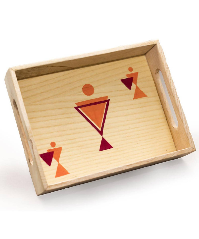 Warli Art Hand painted White Oak Wooden Tray (Single)