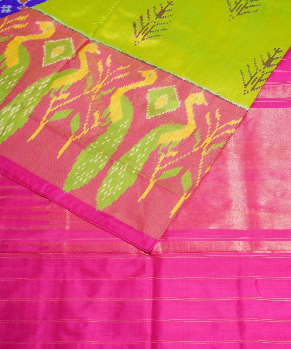 Lime green handloom pochampally silk saree