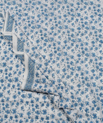 White Blue Floral Block Printed Cotton Fabric