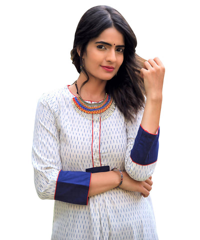 White ikat cotton kurti with wide cuff sleeves