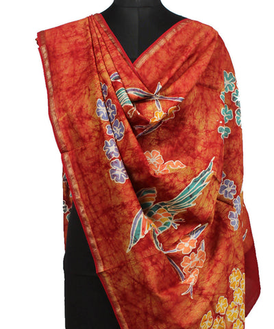 Maheshwari Light Orange Batik Print Dupatta
