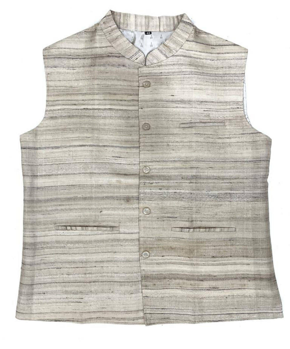 Offwhite handwoven ghicha silk nehru jacket for men
