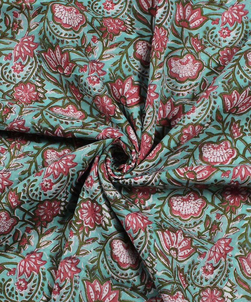 Green Pink Floral Block Print Cotton Fabric
