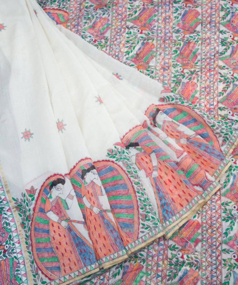 White Hand Paint Madhubani Chanderi Saree