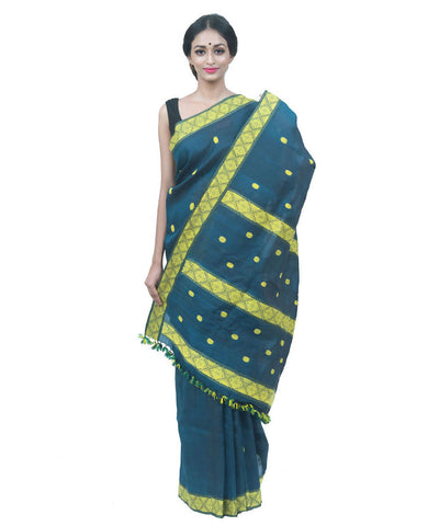 Dark pine green handwoven assam cotton silk saree