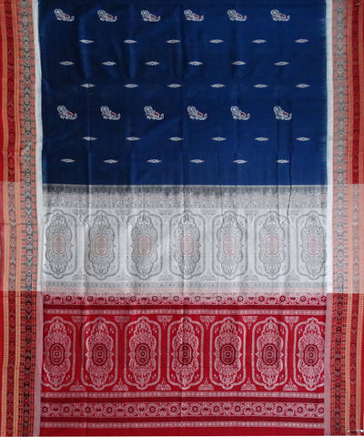 Cobalt Blue Handloom Bomkai Cotton Saree