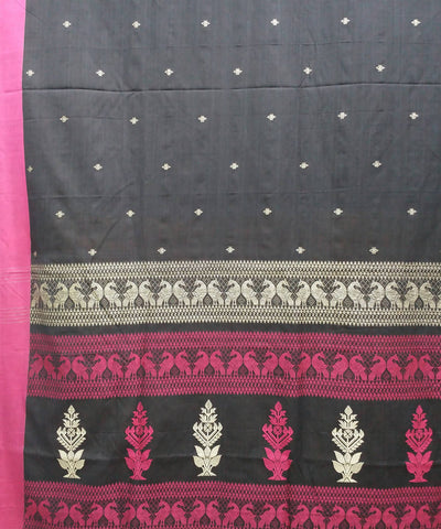 Black and pink handspun handwoven cotton bengal saree