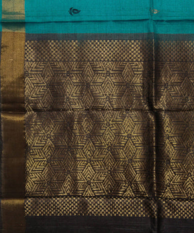 Handwoven Blue Golden Tussar Silk Saree