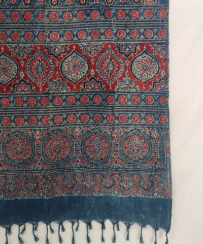 Blue red Ajrakh Handblock Print on Handloom Cotton Stole