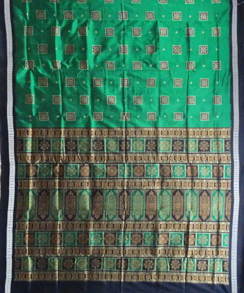 Bottle Green bomkai silk handwoven saree