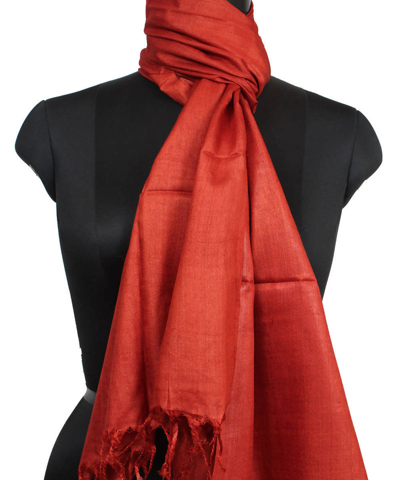 Bright Red Handloom Tussar Silk Stole