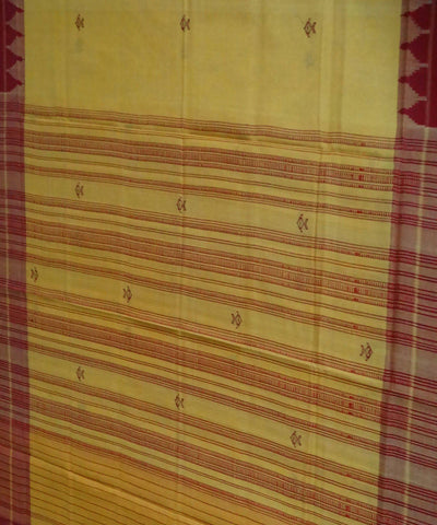 Yellow Red Cotton Handloom Sambalpuri Dupatta
