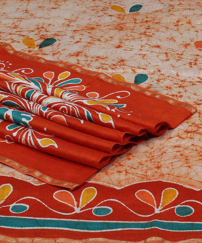 Maheshwari Batik Printed White Orange Saree