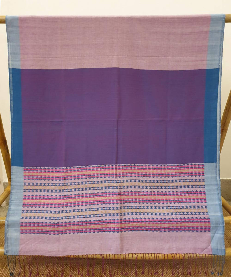 Copper penny purple handwoven  with eri and muga assam saree