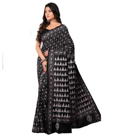Kantha Stitch Black Bengal Handwoven Saree