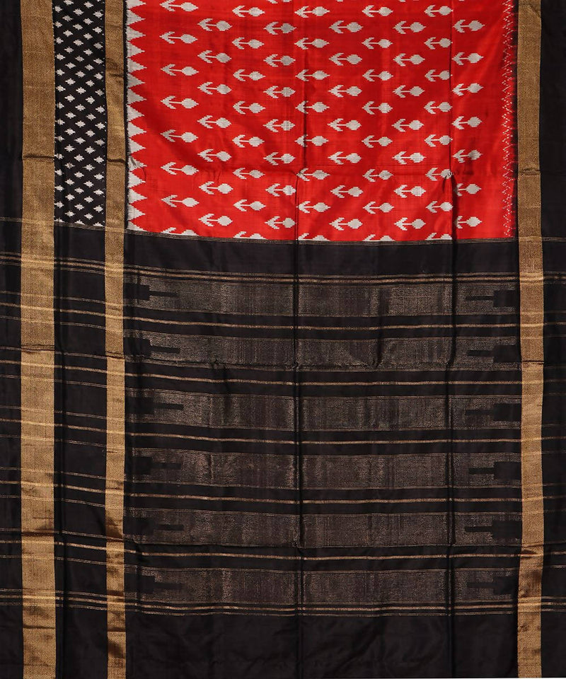 Red Black Handloom Pochampally Silk Saree