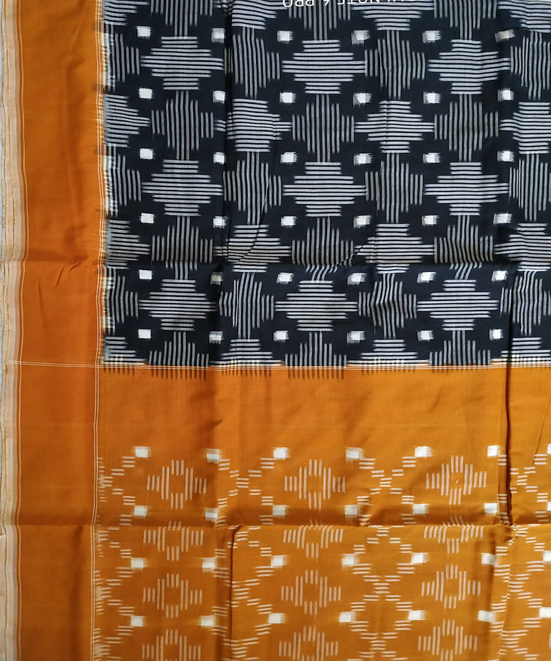 Black mustard ikkat handloom cotton pochampally saree