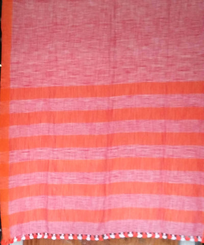 Brown Orange Handwoven Tie Dye Bengal Cotton Saree
