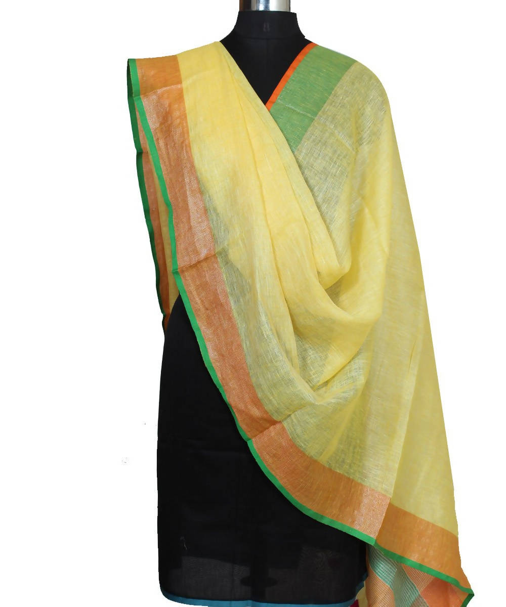 Yellow Handwoven Linen Dupatta