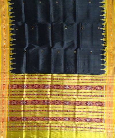 Nuapatna Ikat Black Handloom Silk Saree