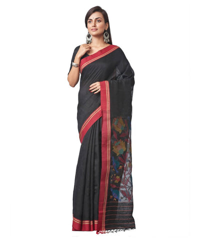Biswa bangla handloom matka silk black jamdani saree