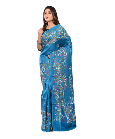 Dark Blue Handloom Kantha Stitch Saree